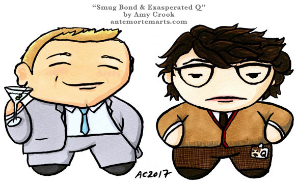 Smug Bond & Exasperated Q, chibi emoji by Amy Crook