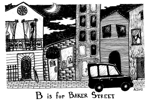 Baker Street Tinies: B is for Baker Street, exterior, drawing by Amy Crook