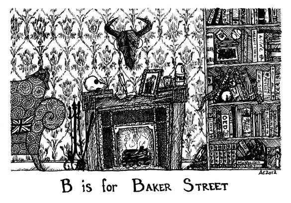Baker Street Tinies: B is for Baker Street, interior, drawing by Amy Crook