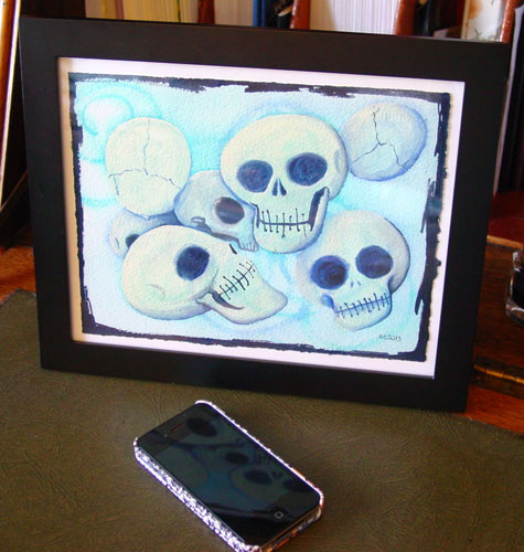 7 Skulls, framed art by Amy Crook