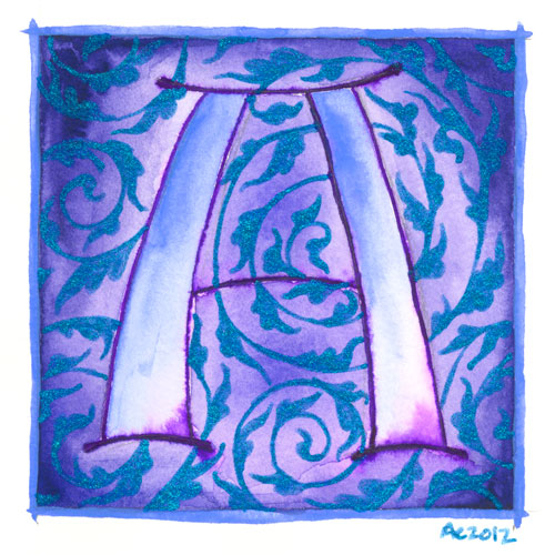 A is for Arabesque, calligraphic illumination by Amy Crook