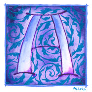 A is for Arabesque, 5x5 illuminated capital by Amy Crook