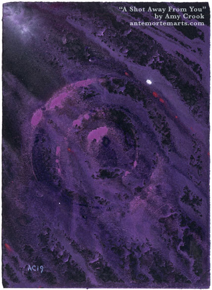 A Shot Away From You, abstract art by Amy Crook, an abstract purple bullseye on black paper