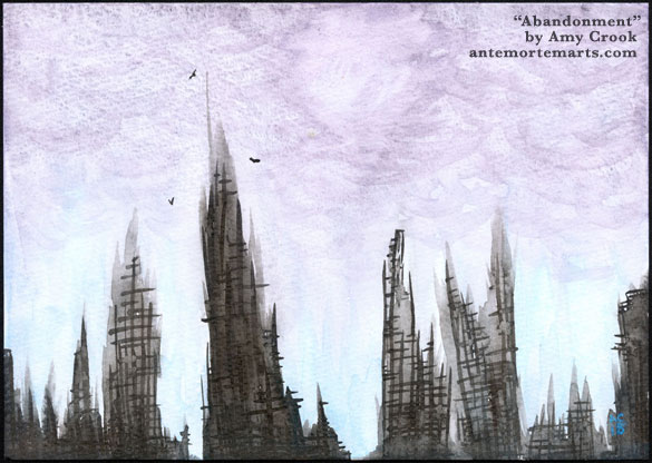 Abandonment by Amy Crook, shadowy abstract city ruins in front of a stormy sky