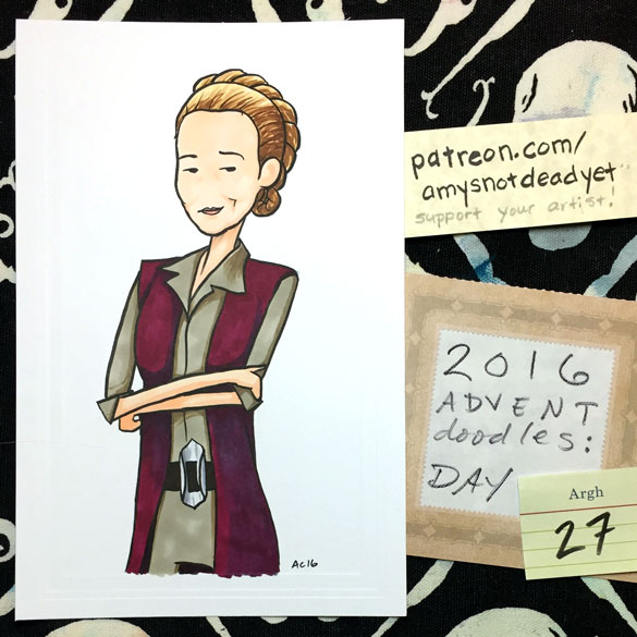 Advent 2016 day 27: General Organa, Star Wars parody art