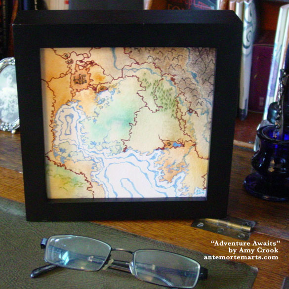 Adventure Awaits, framed art by Amy Crook