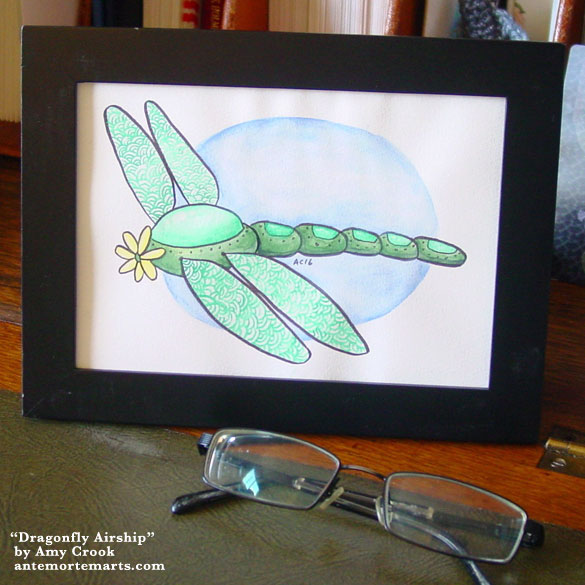 Dragonfly Airship, framed art by Amy Crook