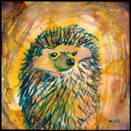 Angry Hedgehog, 6x6 watercolor on paper by Amy Crook