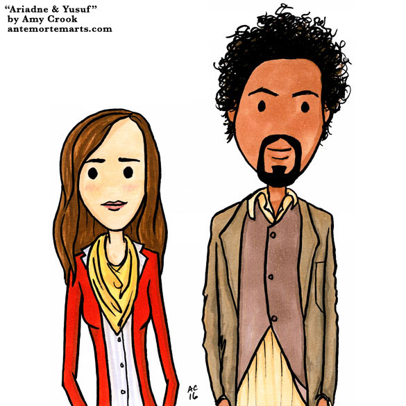 Ariadne and Yusuf, Inception parody art by Amy Crook
