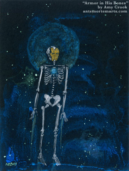 Armor in His Bones by Amy Crook, a painting of a silver skeleton in a gold mask flying through space, a shining blue circle in its sternum