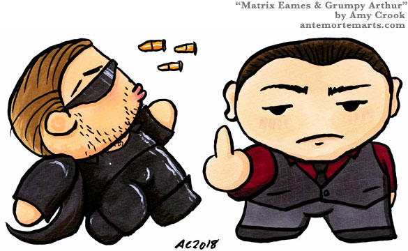 Eames dodging bullets Matrix style and Arthur flipping off the audience, chibi art by Amy Crook