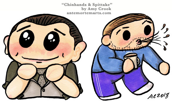 Arthur from Inception doing the chinhands pose, and Eames doing a spittake in chibi style