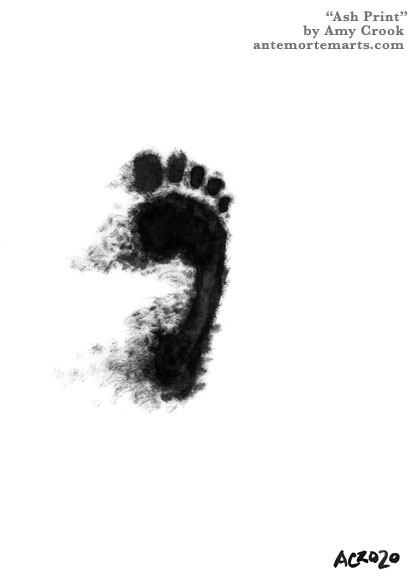 an ink wash painting of a footprint with ash trailing away from it, by Amy Crook