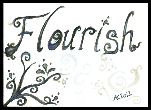Flourish, artist trading card by Amy Crook