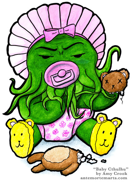 Cthulhu in a pink bonnet and diaper, with yellow teddy bear slippers, holding a teddy bear's head and sucking on a pacifier, by Amy Crook
