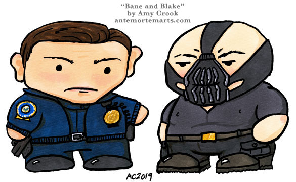 chibi John Blake and Bane from TDKR by Amy Crook