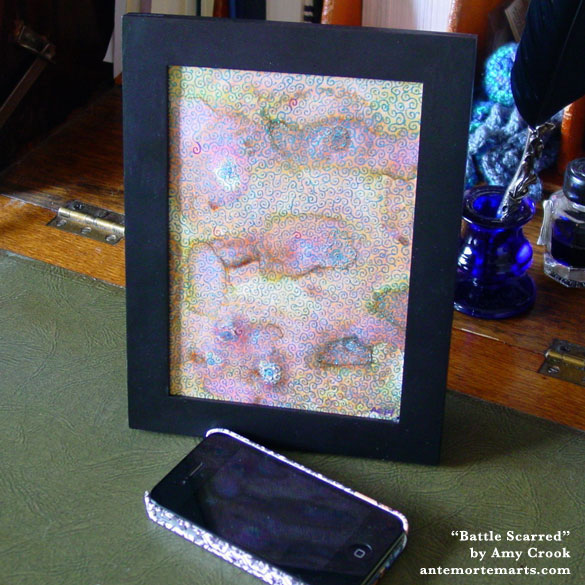 Battle Scarred, framed art by Amy Crook