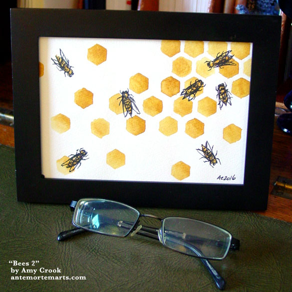 Bees 2, framed art by Amy Crook