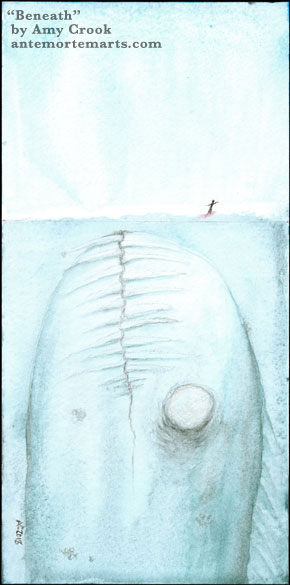 Beneath by Amy Crook, a pencil and watercolor painting in blues with a large marine monster below a tiny surfer