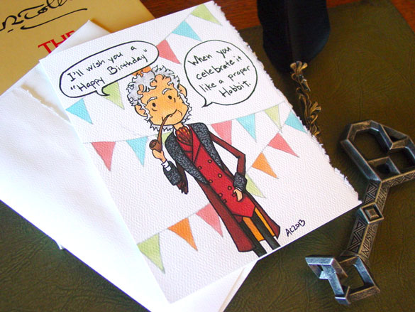 Bilbo Baggins Birthday card by Amy Crook on Etsy