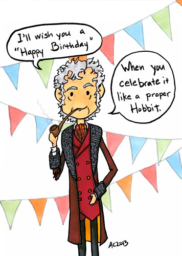 Hobbit Birthday Traditions, parody art by Amy Crook