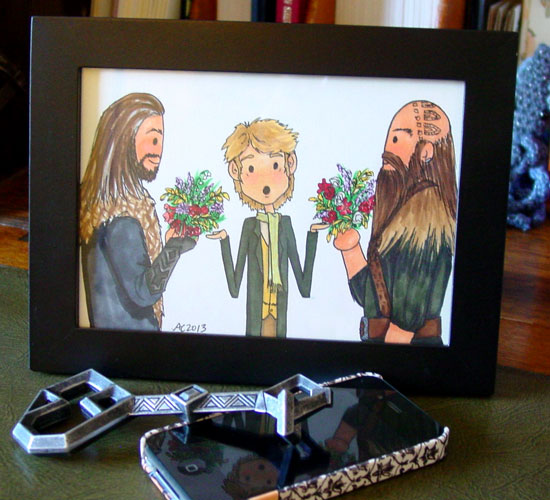 Flowers for Bilbo, framed art by Amy Crook