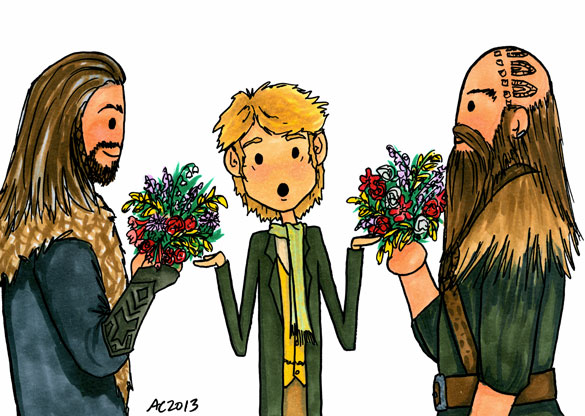 Flowers for Bilbo, a Hobbit parody commission by Amy Crook