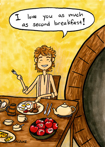 Second Breafkast, Hobbit parody art by Amy Crook