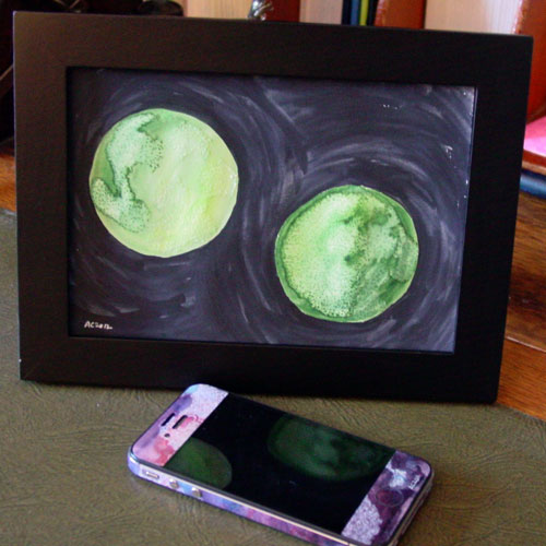 Binary Green, framed art by Amy Crook