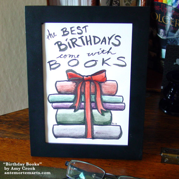 Birthday Books, framed art by Amy Crook