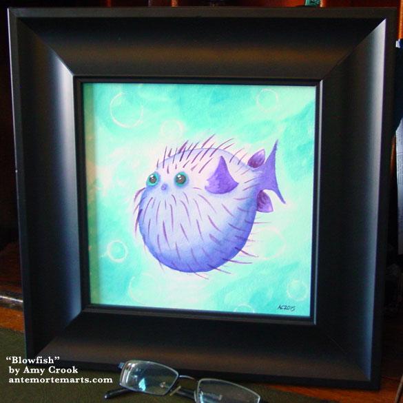 Blowfish, framed art by Amy Crook