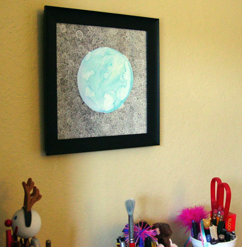Blue Moon 4, framed art by Amy Crook
