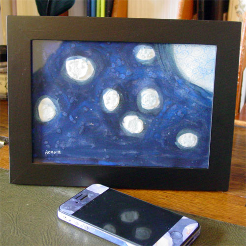 Blue Moon, framed watercolor by Amy Crook