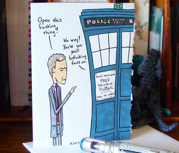 Bollocking the TARDIS, blank greeting card by Amy Crook at Etsy