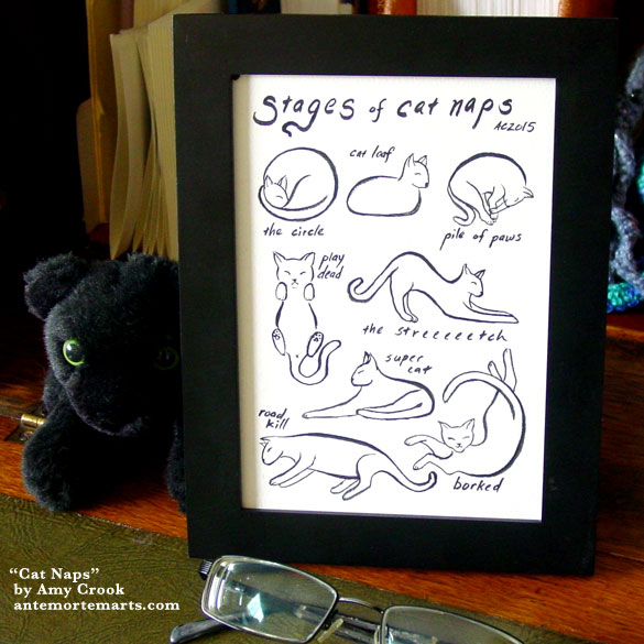 Cat Naps, framed art by Amy Crook