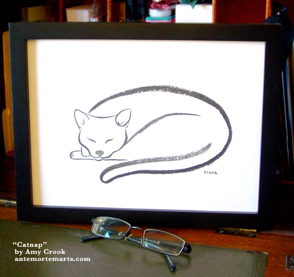 Catnap, framed art by Amy Crook