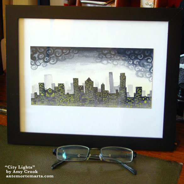 City Lights, framed art by Amy Crook