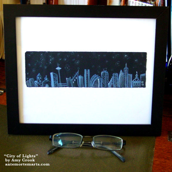 City of Lights, framed art by Amy Crook