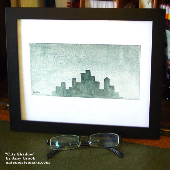 City Shadow, framed art by Amy Crook