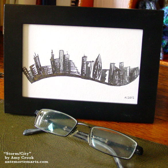 Storm/City, framed art by Amy Crook