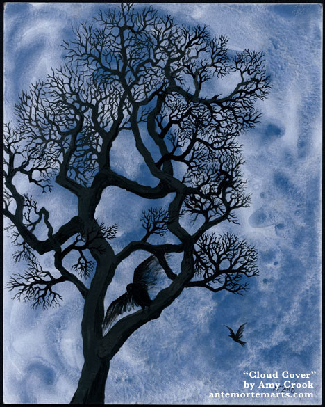 Cloud Cover by Amy Crook, an ink-painted winter tree against a cloudy blue-grey sky with two crows