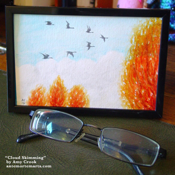 Cloud Skimming, framed art by Amy Crook