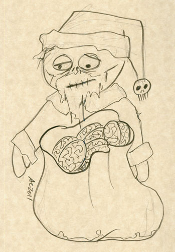 Zombie Santa sketch by Amy Crook