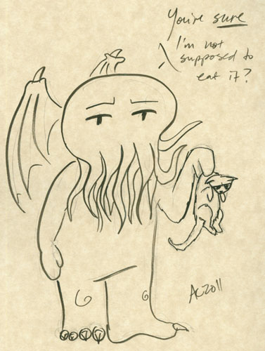 Cthulhu with a Kitten sketch by Amy Crook