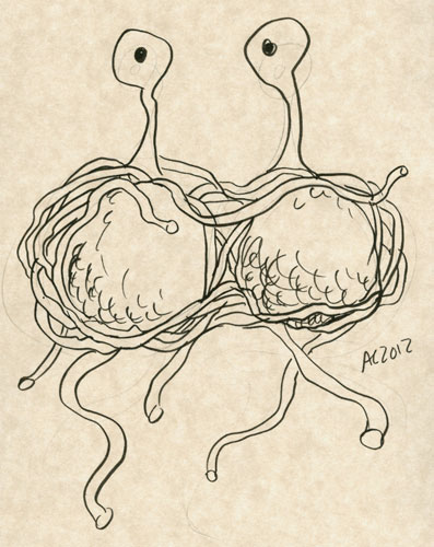Flying Spaghetti Monster sketch by Amy Crook
