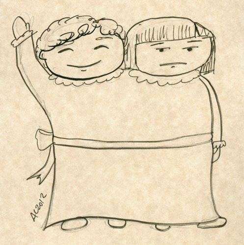 Conjoined Twins sketch by Amy Crook