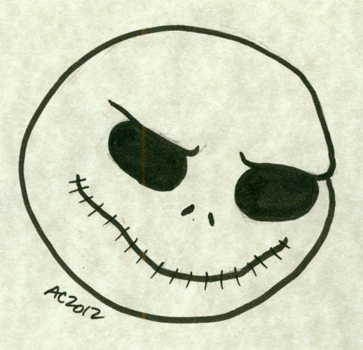 Skellington Jack face sketch by Amy Crook