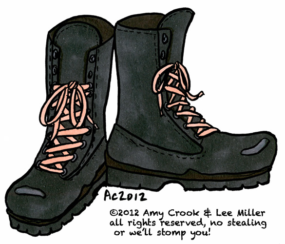 Combat Boots with Pink Laces, commission by Amy Crook for Lee Miller