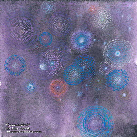 Concentric 3 by Amy Crook, an abstract painting of bursts of shiny color against a deep amethyst background