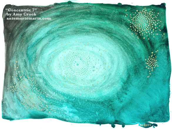 Concentric 7 by Amy Crook, abstract art of a swirling green background and floating golden dots